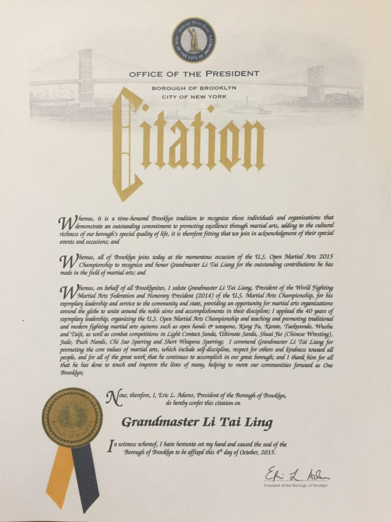 Citation 2015 - Brooklyn Borough President Eric Adams
