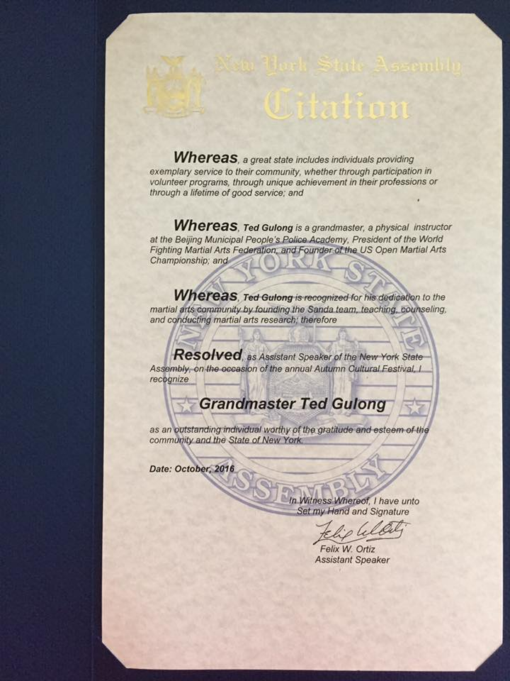 New York State Assembly, Assistant Speaker: Felix W. Ortiz, issued citation to the World Fighting Martial Arts Federation (WFMAF) for hosting the 2016 U.S. Open Martial Arts Championship.